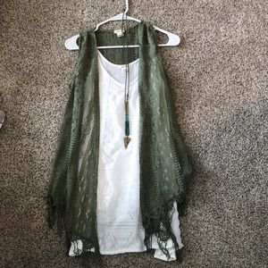 Long Tunic Tank Top w/ Necklace